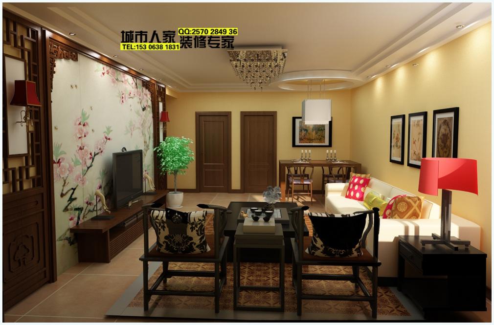 客厅全景,中式椅子,红木色调