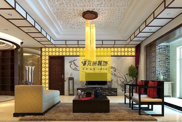 客厅:电视墙造型选用了石材马赛克飞天拼图,体现庄重贵气的氛围,