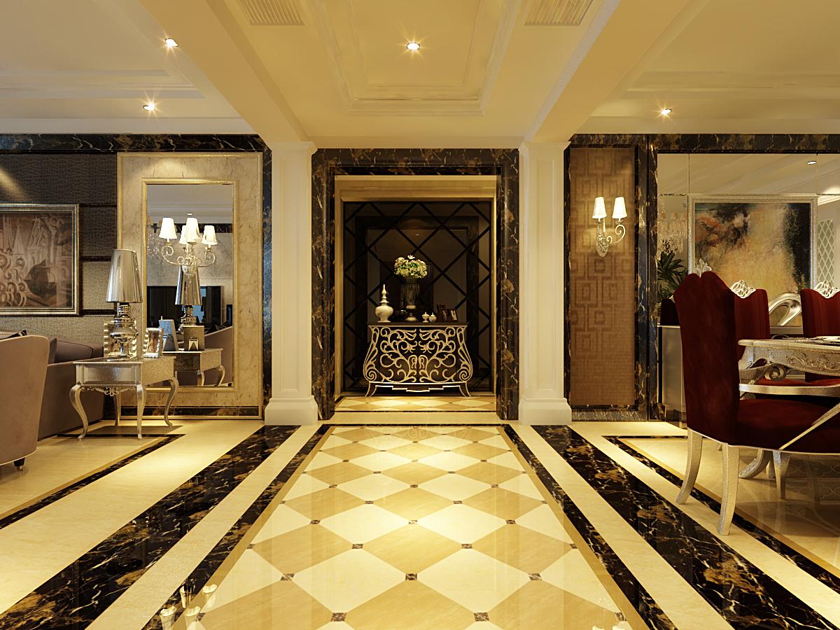 进门厅设计了四个罗马柱,把餐厅和客厅区分开,配合地面造型拼花和吊顶图片