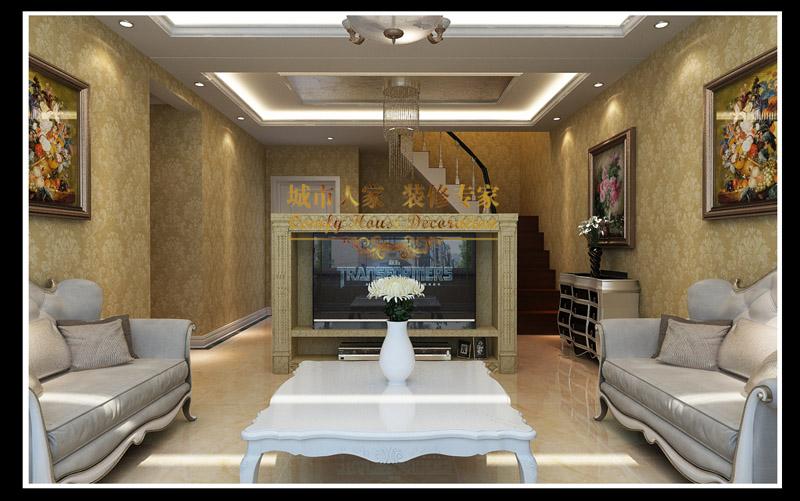 青岛山海家园简欧风格复式装修效果图_100平米15万-房图片