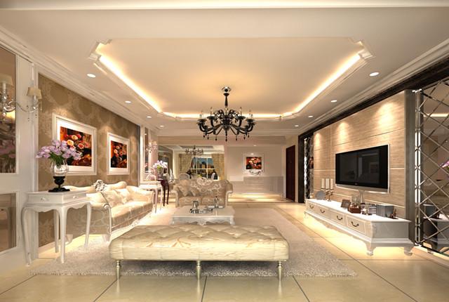 台湾村小区161平米奢华欧式风格——客厅效果图