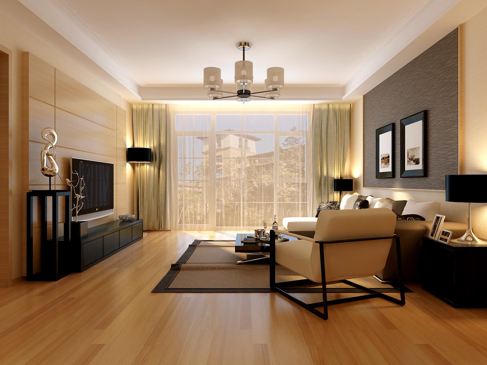 华龙美树 三室一厅一卫装修案例效果图 88平米设计 高清图片