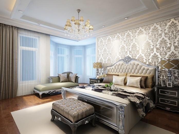 更多三居室装修效果图-新古典风格三居设计 镜面玻璃电视墙扩大空高清图片