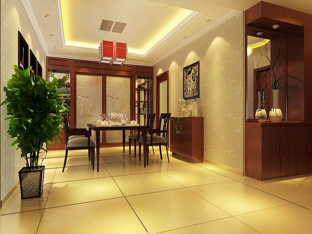 典雅现代中式风格家居设计 安泰嘉园三居室装修图 高清图片