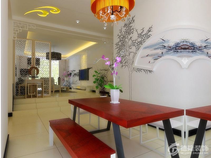岛海信湖岛世家87平-两室两厅-餐厅装修设计-青岛海信湖岛世家中式