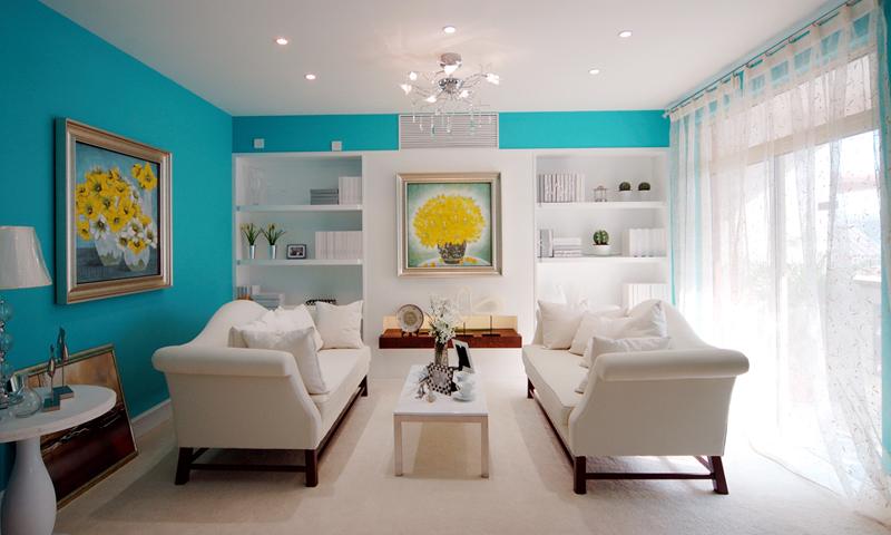 两室两厅-客厅装修设计-地中海风格二居室装修效果图87平米5万地中