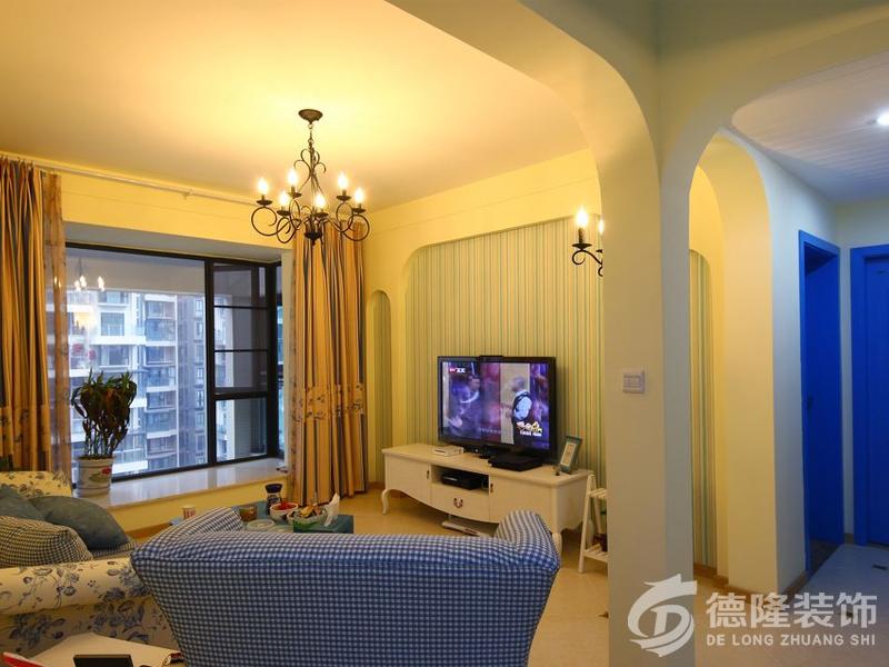 87平-两室两厅-客厅装修设计-地中海风格二居室装修效果图87平米5