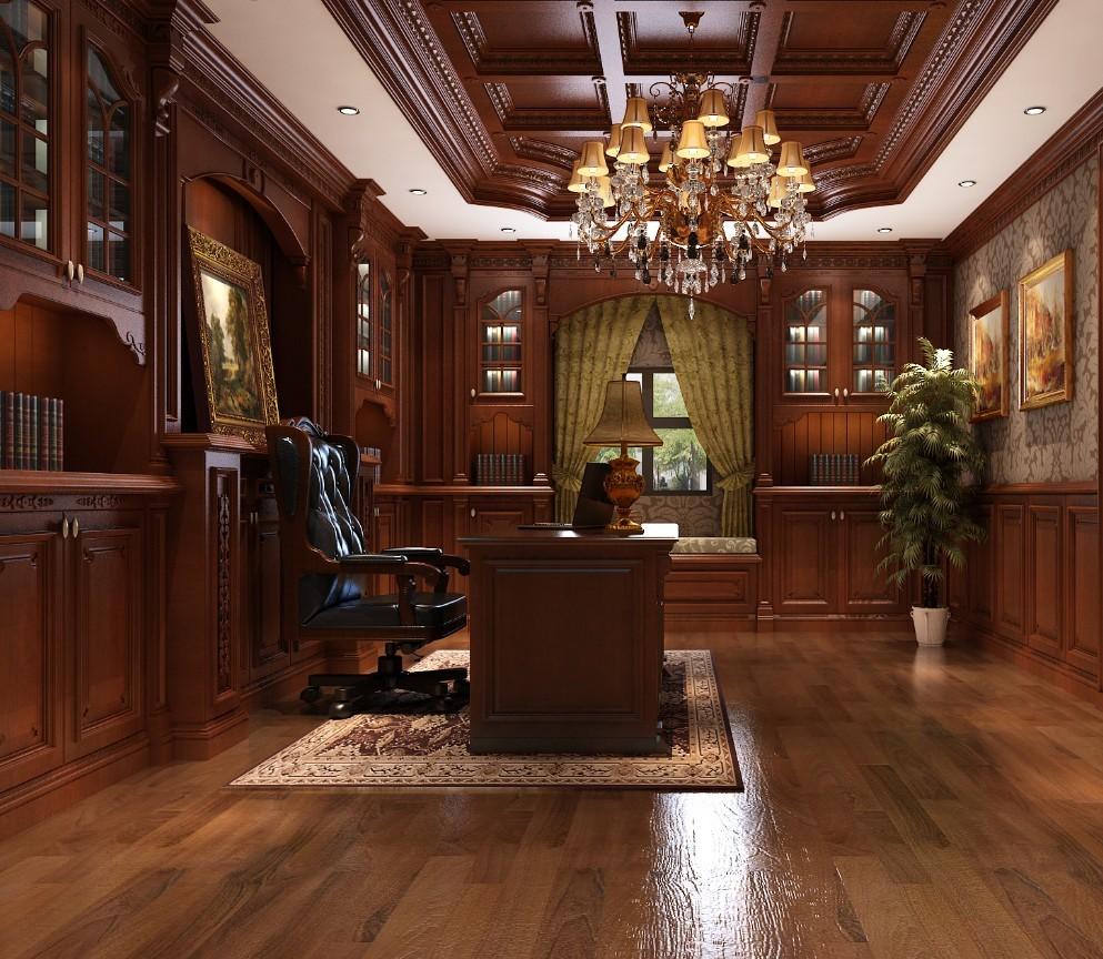 玛格定制家具 欧式实木整书房图片