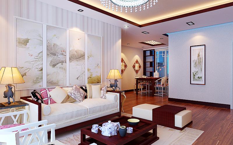 135平米三居室装修效果图 新中式设计雅致时尚(图)