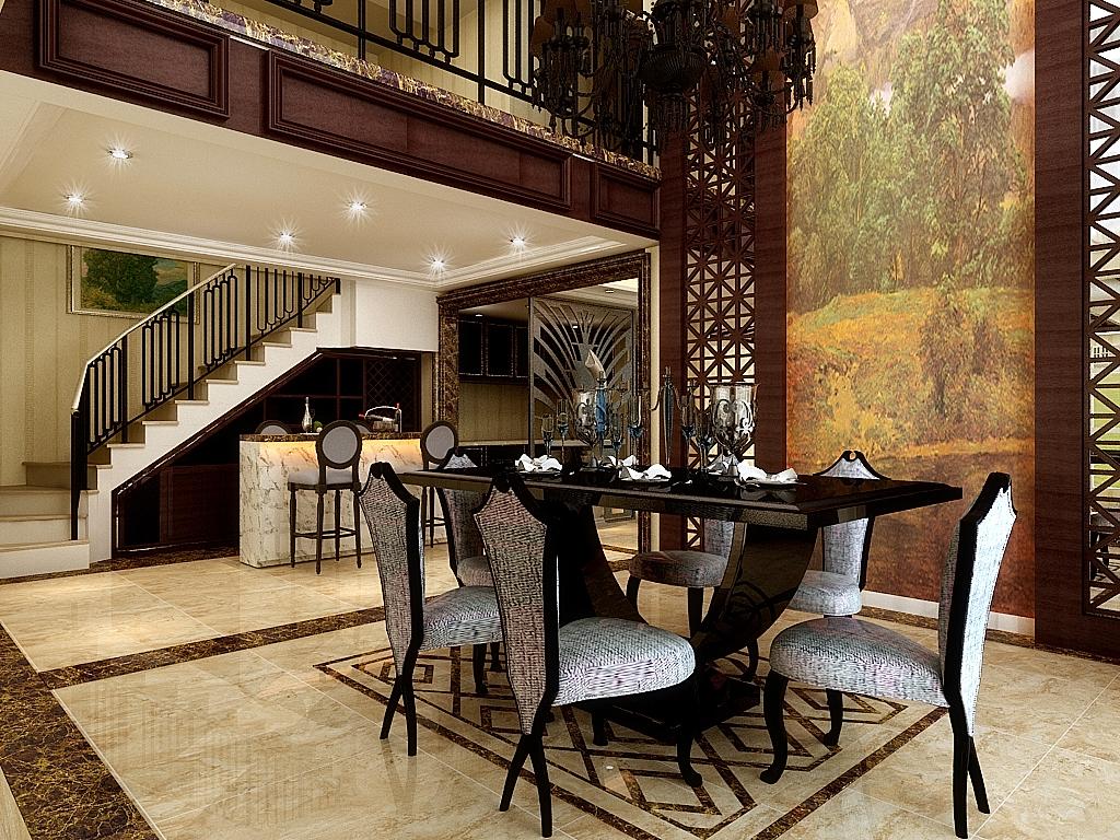 本案餐厅背景墙也是共享空间的一个主墙面,造型采用独具中式风格的米图片