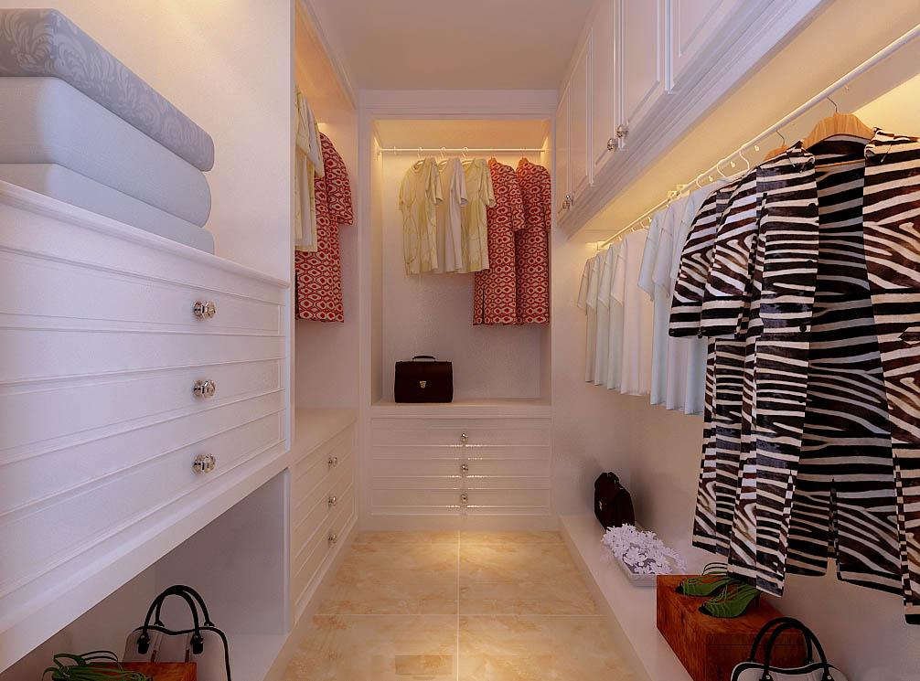 【城市人家装饰】衣帽间设计——根据业主的需求,设计了衣帽间,整个一白色为主,空间干净,明亮。