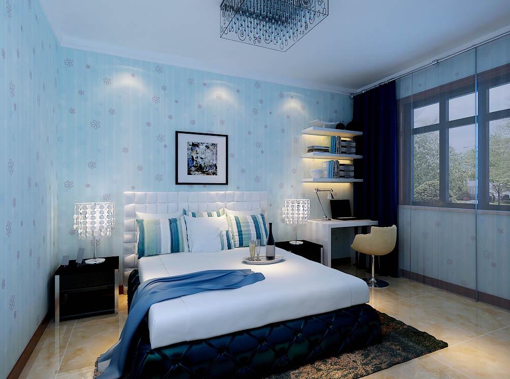 【城市人家装饰】卧室设计——简洁的家居和清爽的壁纸,给人一个很好的休息空间。