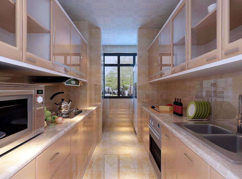 【城市人家装饰】厨房设计——两面墙上都做了橱柜。把能使用的空间全都利用到位。