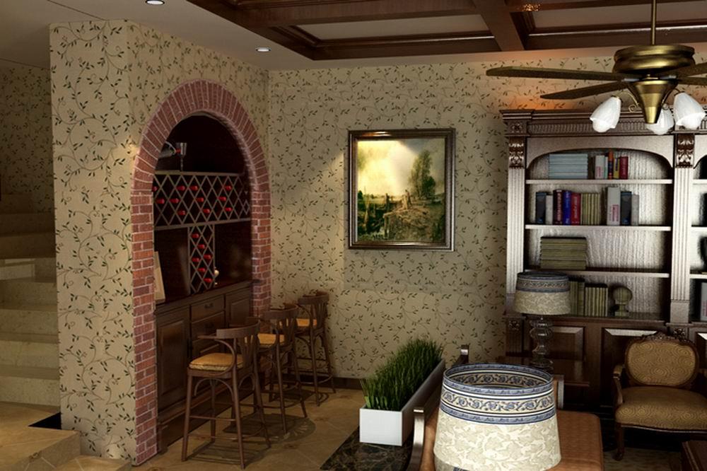 恒大金碧天下-美式田园风格-别墅-装修案例设计说明图片