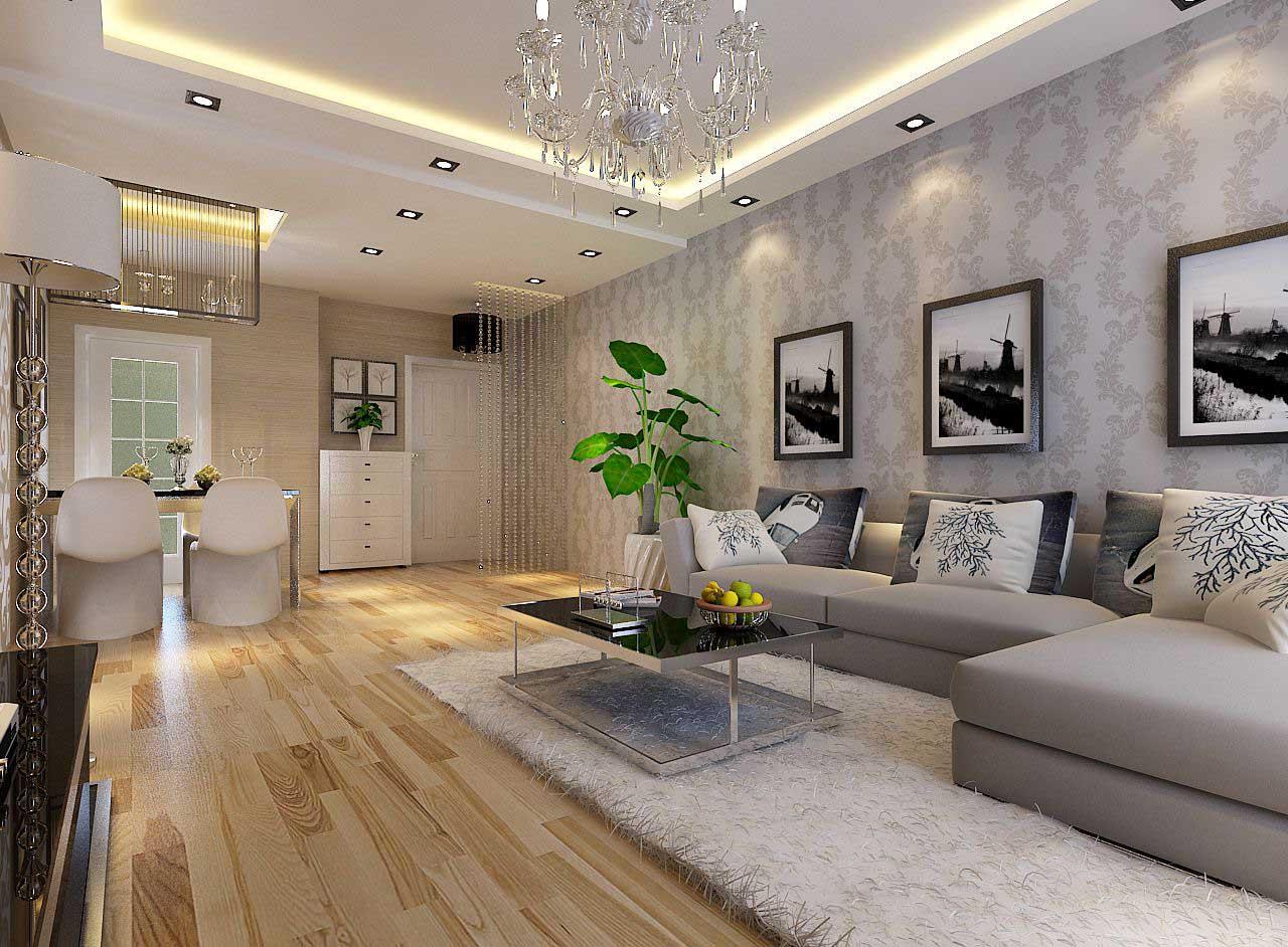 名流印象现代简约风格88平2室装修设计案例效果图高清图片