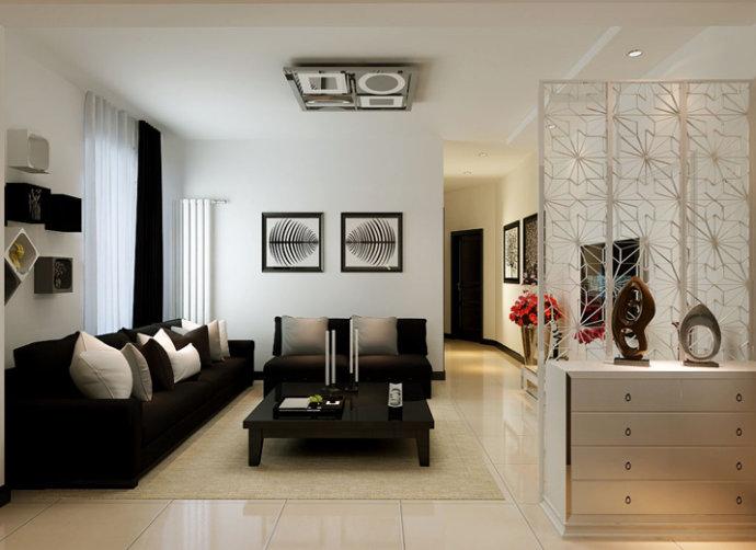 深色的沙发,浅色的地毯,好似给人错觉置身在一个巧克力中舒适甜美,配合上一盏简约的灯,在简单的沙发墙上装上几副映像派的画像配合着白色的墙漆使得简约并不那么简单