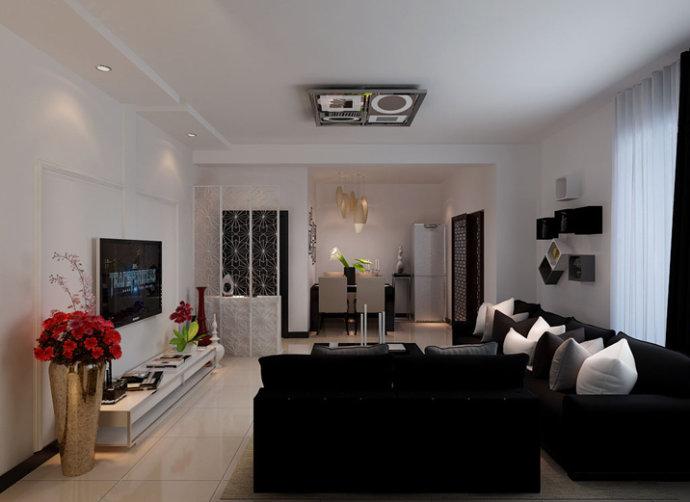 兆丰园以黑白灰三色为主色调,沙发背景墙用简单实用的方形盒子装饰添加了储物功能