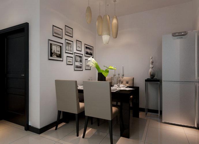 餐厅加上几盏吊灯,光打在餐桌上只有那么一个空间如诗如画,加上餐厅的照片墙更能显示出简约中的那份高雅。