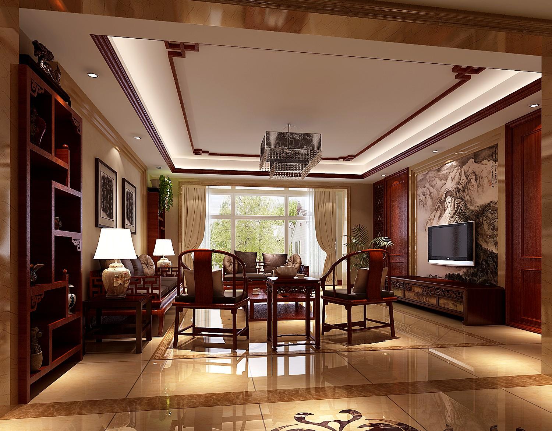三居室效果图_中式古典三居室客厅书柜装修效果图大全-房天下装修效果图