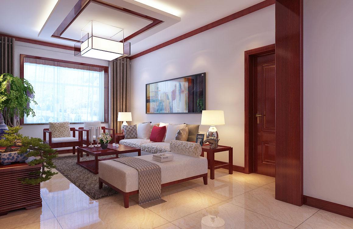 北京奥林滨河花园新中式风格三居室装修效果图_1306万图片