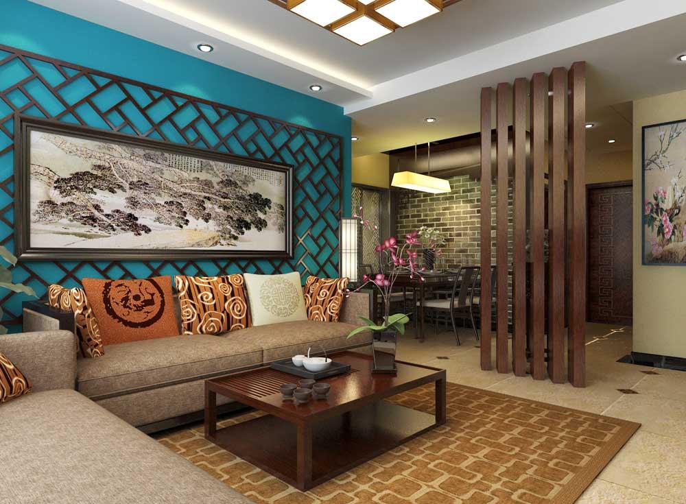 北京中南世纪城中式风格三居室装修效果图_120平米5万图片