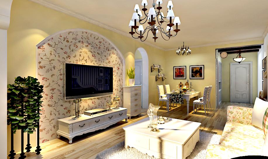 金地檀溪田园风格88平二居室装修设计效果图 高清图片