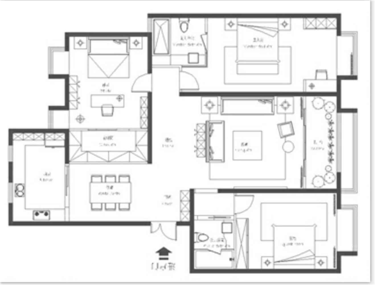 厨房与阳台打通,卫生间平开门改动,书房的改动