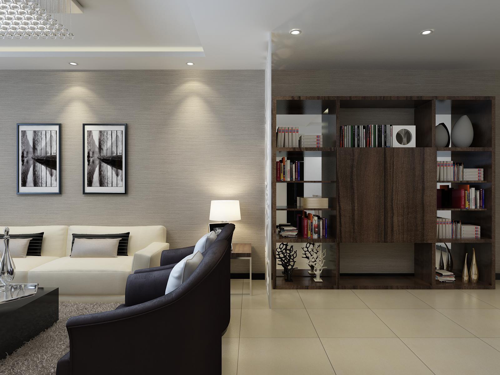 金地檀溪现代简约88平二居室装修设计效果图 高清图片