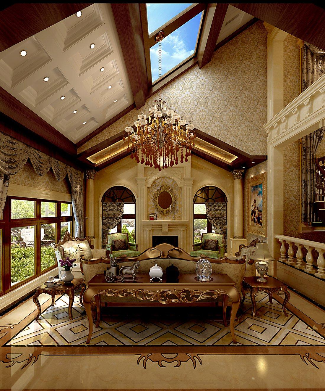 125平大户型北欧变身美式 精装修上深造客厅设计图片