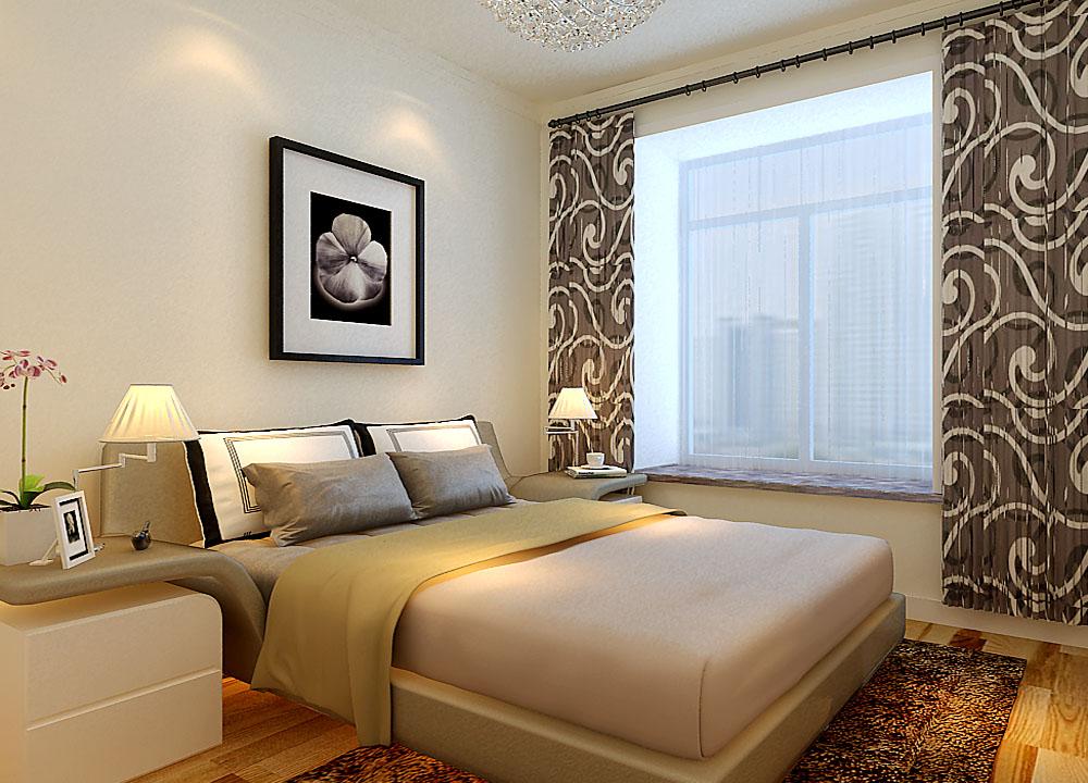 主卧的设计,满足空间的使用功能。窗帘颜色的选择,也是设计师根据业主的情况定了,为了使主人更好的入睡。