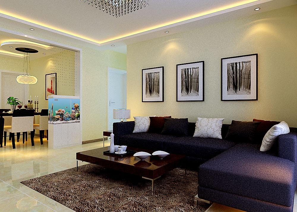 客厅沙发区的设计,墙面简单时尚电视相框是设计。深色沙发也是业主喜欢的。搭配的地毯,整个空进高雅,舒适。