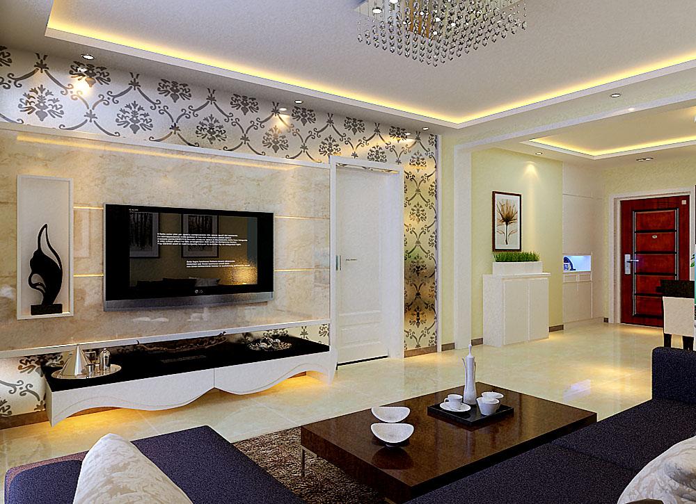 客厅的设计,主要是电视柜与背景墙的设计,电视背景墙做了简单的格子造型,石材为主,边框一花色的搭配,把门也包含在电视墙中,使其融为一体,在视觉上,增加面价。