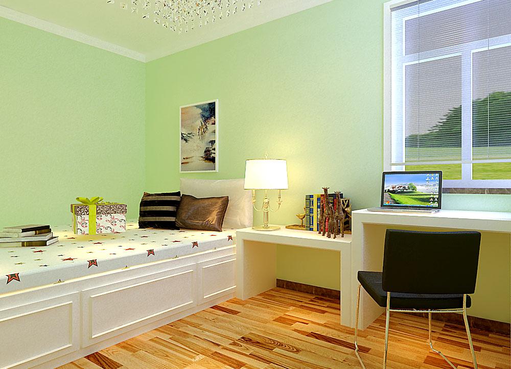 卧室(兼书房)的设计,卧室就是休息的地方,墙面以绿色为主,窗户前放置了电脑与书桌,整个空间清爽,舒适。