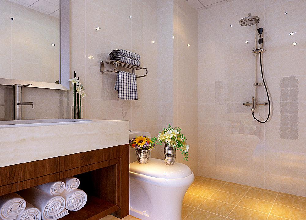 主卫生间的设计,洗面台的设计与整个空间的搭配,干净,明亮。功能划分明确。