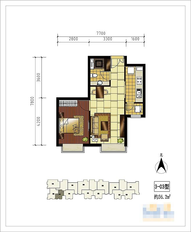 贸城-一居室-59.00平米-户型图装修效果图-半包3万装修59平一居室 高清图片