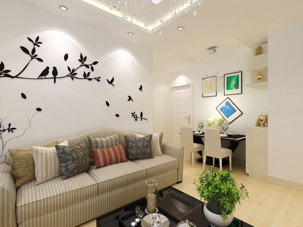 馨港湾现代简约62平二居室装修设计效果图高清图片