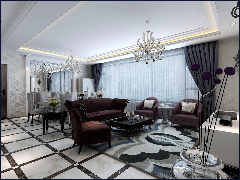 西吴御龙庭134平米白色欧式风格装修图