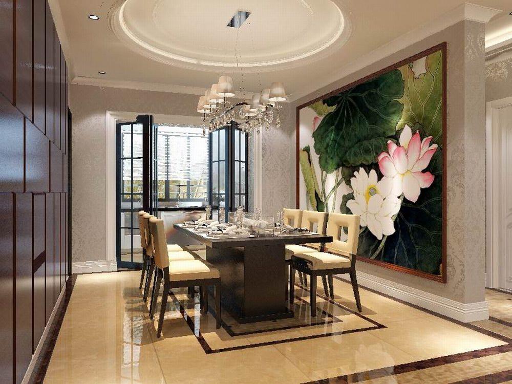 餐厅是家居生活的心脏,不仅要美观,更重要的实用性,整体性。餐厅的灯光很重要既不能太强又不能太弱,顶部做了简单的吊顶。隔
