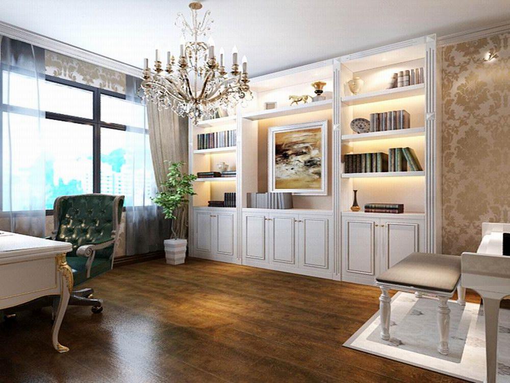书房则在客厅那种明亮的欧式风格的基础上,采用了稍微深色的色调,让人感觉非常安静沉稳,有利于静下心来完成学习、工作。