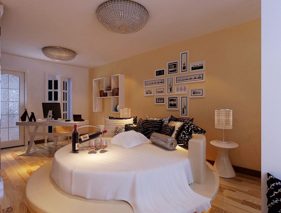 圆形的大床与暖色灯光的搭配,使人心情更加愉悦
