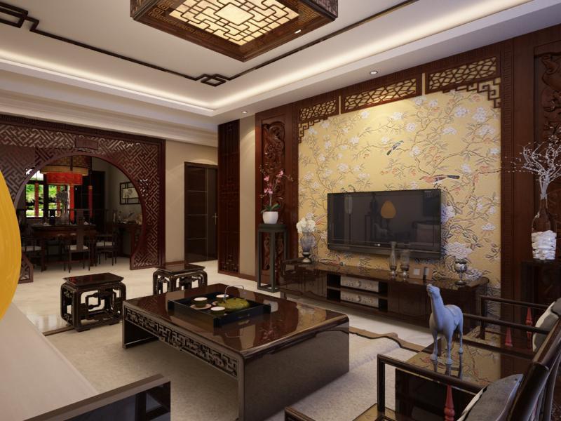 124平米中式风格三居室,预算5万,点击看效果图!-北辰新天地盛景湾装修