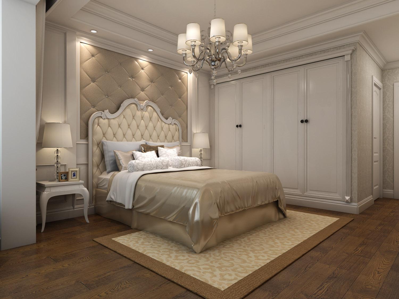 00平米-卧室装修效果图 美式软包设计,温馨舒适.