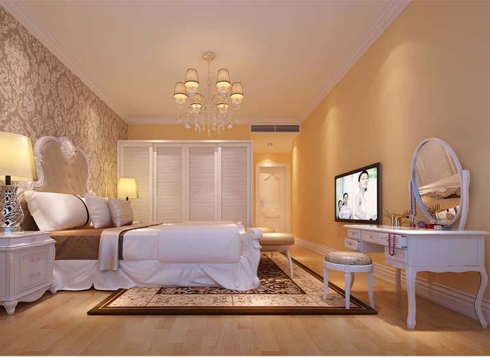 家具均为米白色,表面略带雕花,扶手和椅腿的弧形曲度,显得优雅舒适
