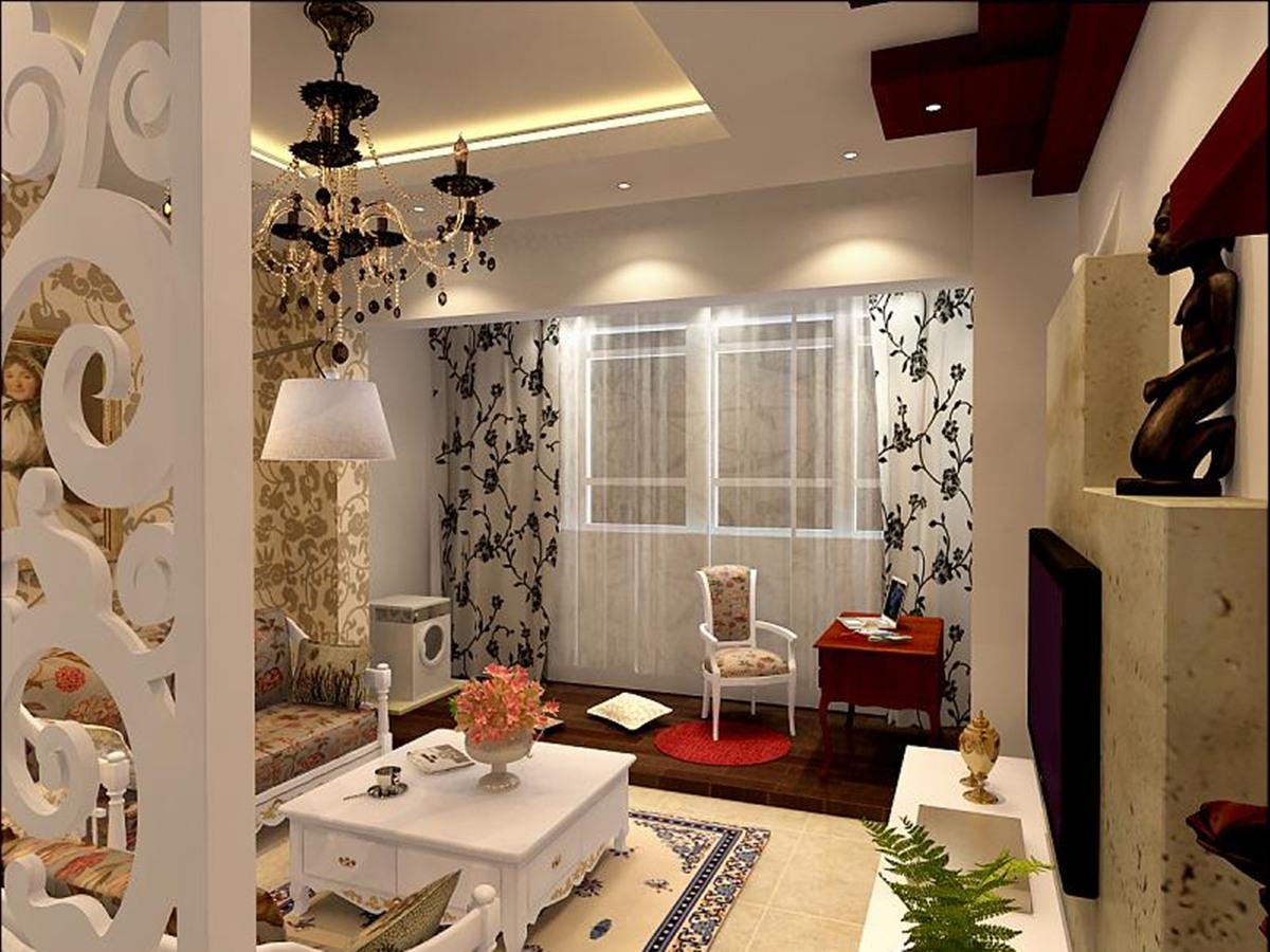 望京西园四区-一居室-51.50平米-客厅装修效果图高清图片