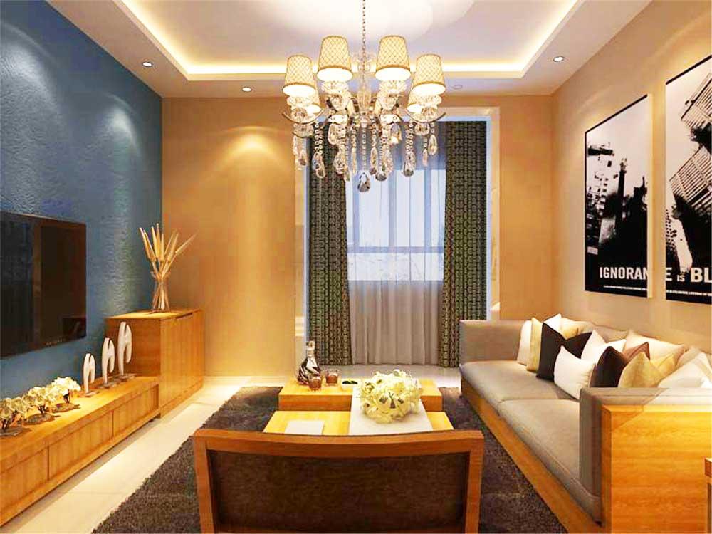 沙發和茶幾以及電視柜子都是采用統一木材制作,使家具色彩整齊統一圖片