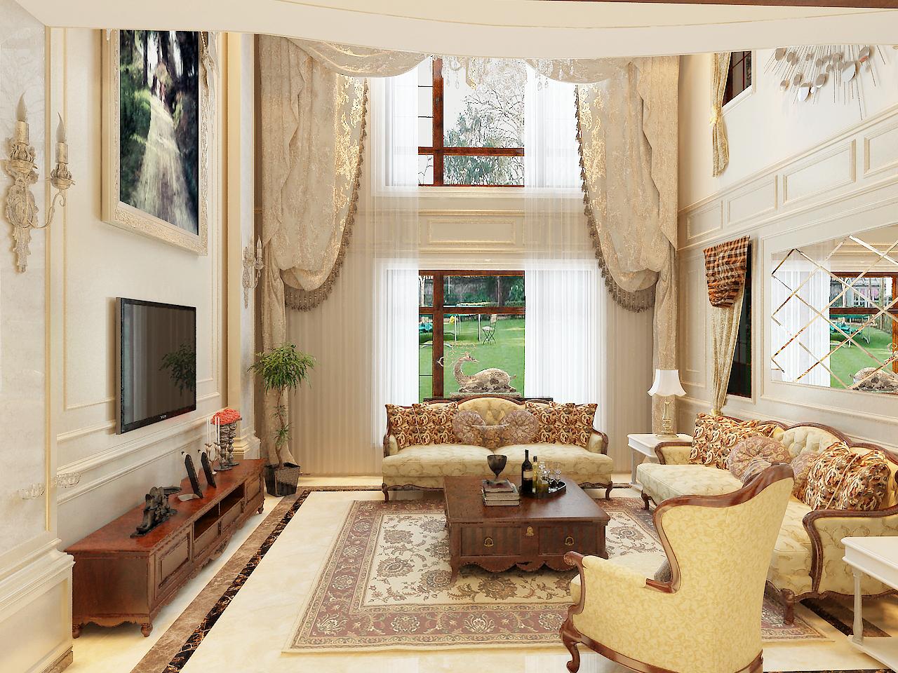 因为是别墅在客厅有一个很大的挑空空间,这个空间首先给客厅提供了足够的空间和采光。为契合户主对装修的要求,在整个客厅的设计上采取了简洁大气的石材造型,再加以简洁的线条使之不单调。地面铺贴的是800*800的地砖,颜色温馨,在加以波导线与之地毯相呼应,使地面稳重下来,木色的电视柜,茶几。还有布木结合的沙发稳重了整个空间还不失温馨感。正是木质家具的使用给整个客厅空间添加了一抹自然的感觉。整体的沙发窗帘的配饰也和整体环境相呼应,尽显舒适温馨的感觉。