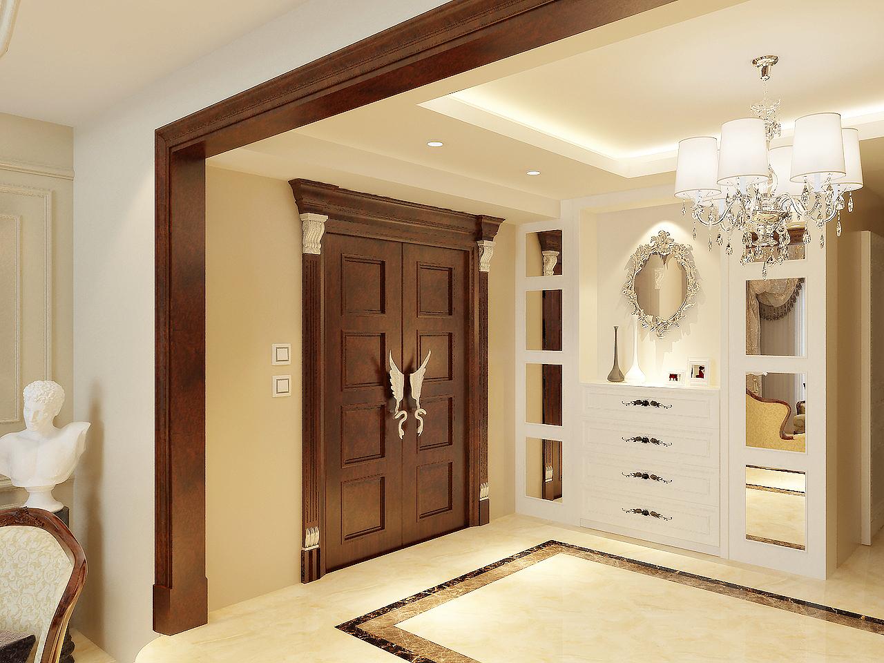 入门玄关处有较大的使用空间,所以考虑到空间的使用性和实用性,在此处设计了一个穿衣柜。方便了户主的生活。