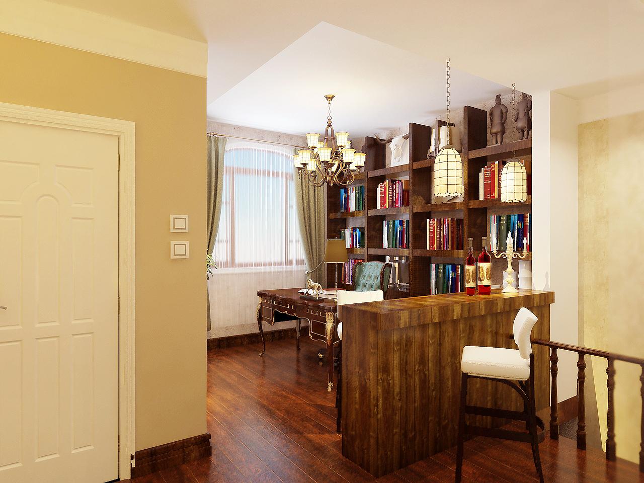多使用了实木材质,简洁大方的书架很显一种大气粗犷个感觉,把它使用在书房里,彰显出主人的宽广的胸怀,在书房里没有做太多的造型,浅色的印花壁纸,窗帘。加上墙上几幅前卫的油画,给整个书房营造出一个宁静舒适的阅读环境。