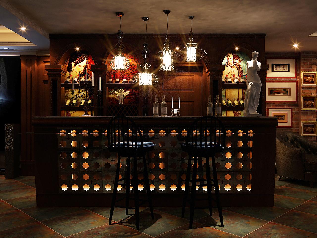 负一层用来做影音室兼酒吧是不错的选择,由于负一层的采光不是很好,所以在这里灯光会使用到很多。这恰恰会利用灯光给这里营造出一种宁静的氛围,仿古砖在地面上的大面积使用首先就会使这里显现出一种高贵稳重感。这里也是主人的一个极好的放松享受的空间,可以在尽情的观看电影,品酒,欣赏收藏的宝贝。