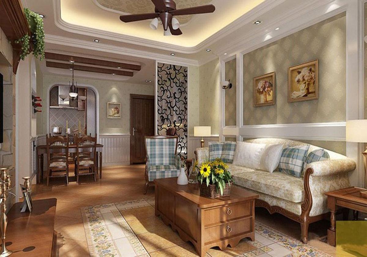 北京海上国际城美式乡村风格二居室装修效果图_97平米